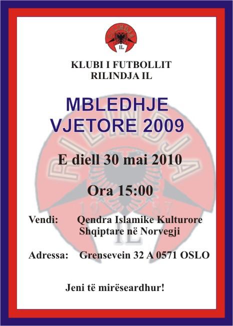 Klubi i futbollit Rilindja IL- Oslo, mbanë kuvendin vjetor!